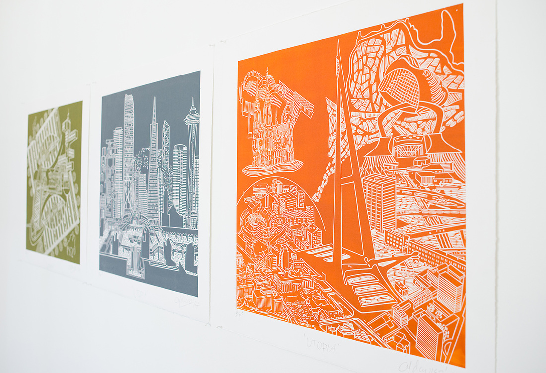 From 'Utopia' series, 2014, linocuts by Anthony Davies, Gilberd Marriott Gallery, Wellington New Zealand, exhibition November 7th-24th 2014