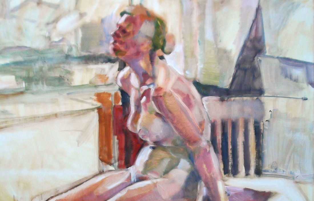 'Jess, 2014' - oil on board by Denise Durkin, 'Progress - an examination of the painting process, life painting, figure painting, female nude, New Zealand fine arts, Gilberd Marriott Gallery