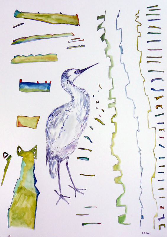 'There, Where The White Faced Heron Stand 2014, No.1' - artwork by Robert Thompson
