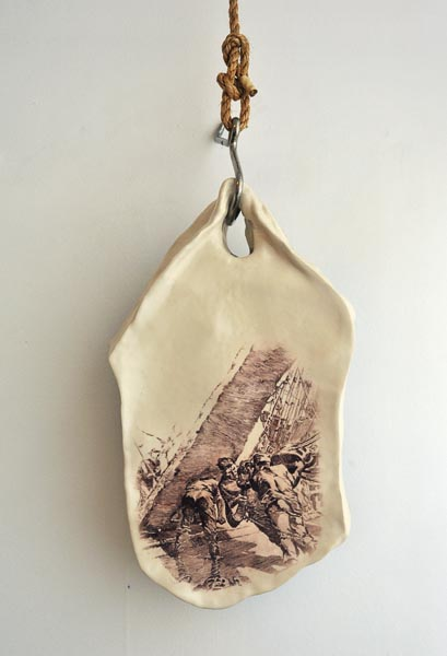 Phillipa Durkin, from Ceramics & works on paper, 2011 - Blanket Pieces - Glazed stoneware, decals, rope, stainless steel.