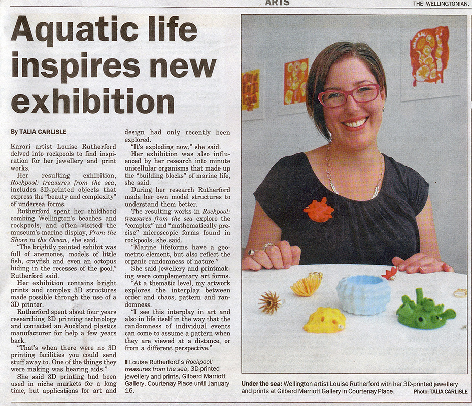 Louise Rutherford artist in Wellingtonian, 11th December 2014, Aquatic Life Inspires New Exhibition