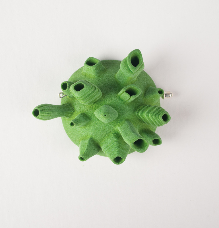 #d printed jewellery brooch by Louise Rutherfor, Gilberd Marriott Gallery, Wellington New Zealand 2014