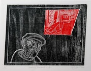 Anthony Davies: woodcut from 'Crossroads, a family portrait, 2005-2006' fine art printmaker UK and New Zealand, Gilberd Marriott Gallery New Zealand fine arts, Wellington NZ