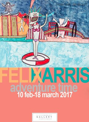 Felix Harris 'Adventure Time' exhibition poster, New Zealand fine arts, Gilberd Marriott Gallery Wellington