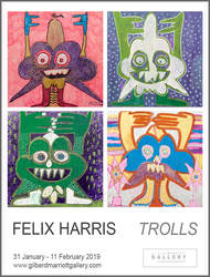 'Trolls' poster - paintings by Felix Harris at Gilberd Marriott Gallery, 31-1-2019 to 11-2-2019, contemporary New Zealand art gallery in Wellington