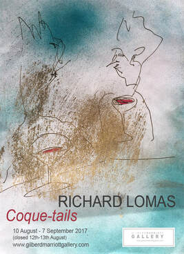 Richard Lomas 'Coque-tails' poster, Gilberd Marriott Gallery 37 Courtenay Place, contemporary New Zealand art gallery