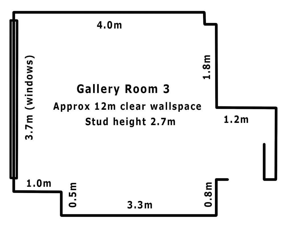 Gilberd Marriott Gallery 37 Courtenay Place Wellington New Zealand, gallery room 4 plan, art gallery space in Wellington, photospace gallery plan for room 3
