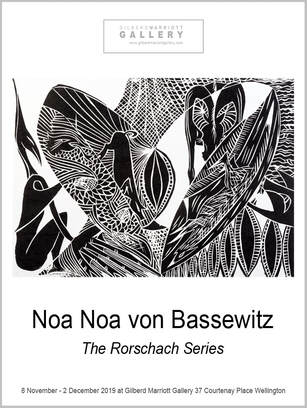 The Rorschach Series exhibition poster, Noa Noa von Bassewitz Wellington based printmaker, Gilberd Marriott Gallery contemporary fine arts Wellington New Zealand