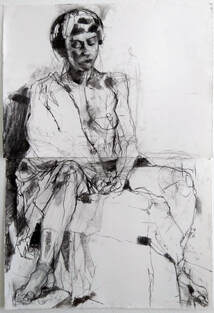 Denise Durkin - 'Xanthe, August 2020', charcoal on paper, two sheets, 76cm x 113cm, $750, life drawing, oil painting of nude, Gilberd Marriott Gallery contemporary New Zealand fine arts, 37 Courtenay Place Wellington Aotearoa NZ